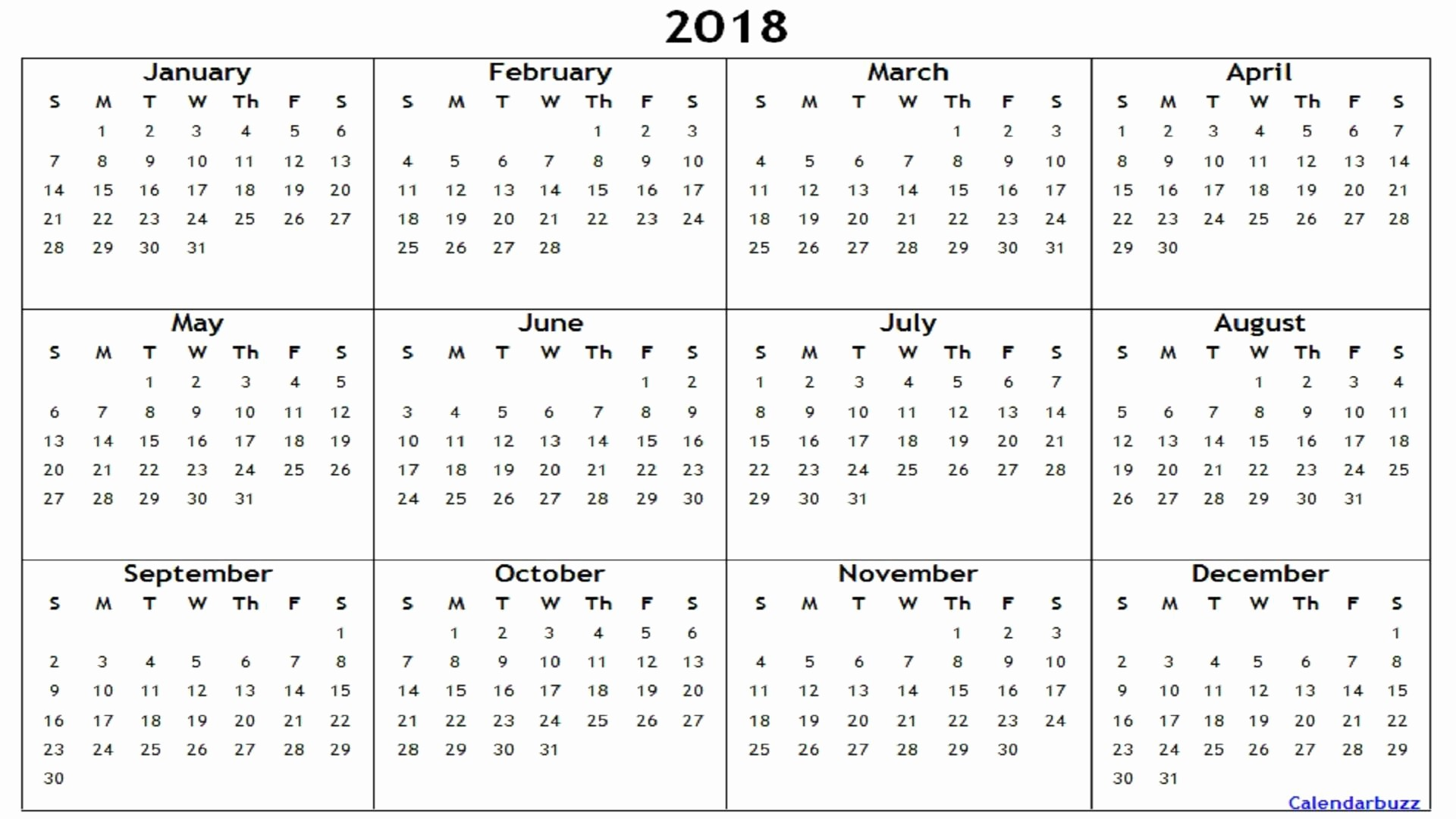 Free Printable Yearly Calendar 2018 Lovely 2018 Yearly Calendar Printable Word