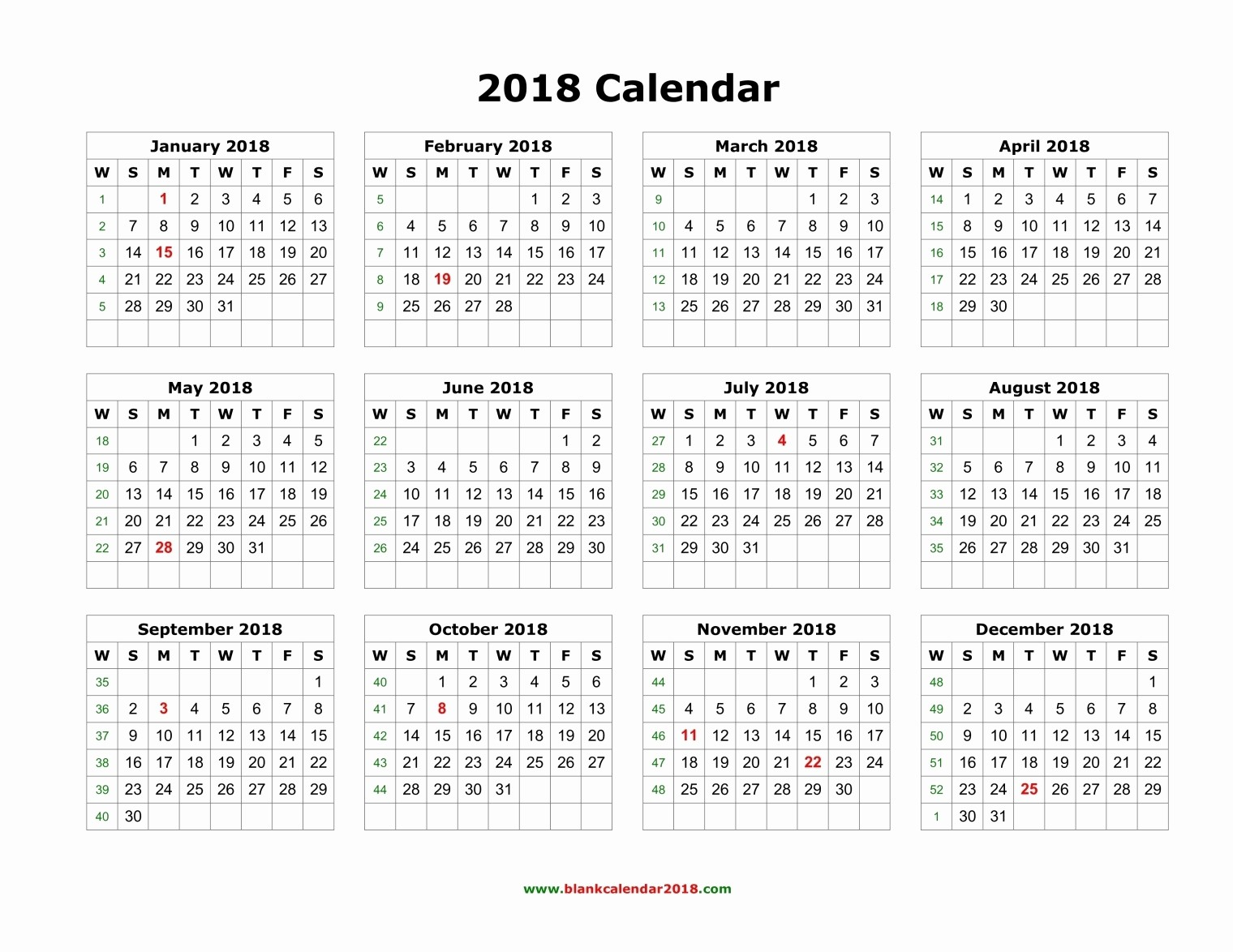 Free Printable Yearly Calendar 2018 Lovely Blank Calendar 2018