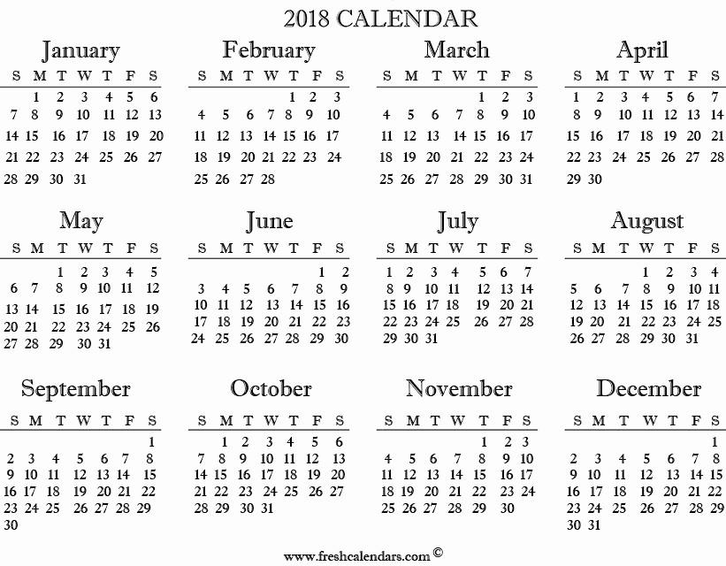 Free Printable Yearly Calendar 2018 Luxury 2018 Calendar