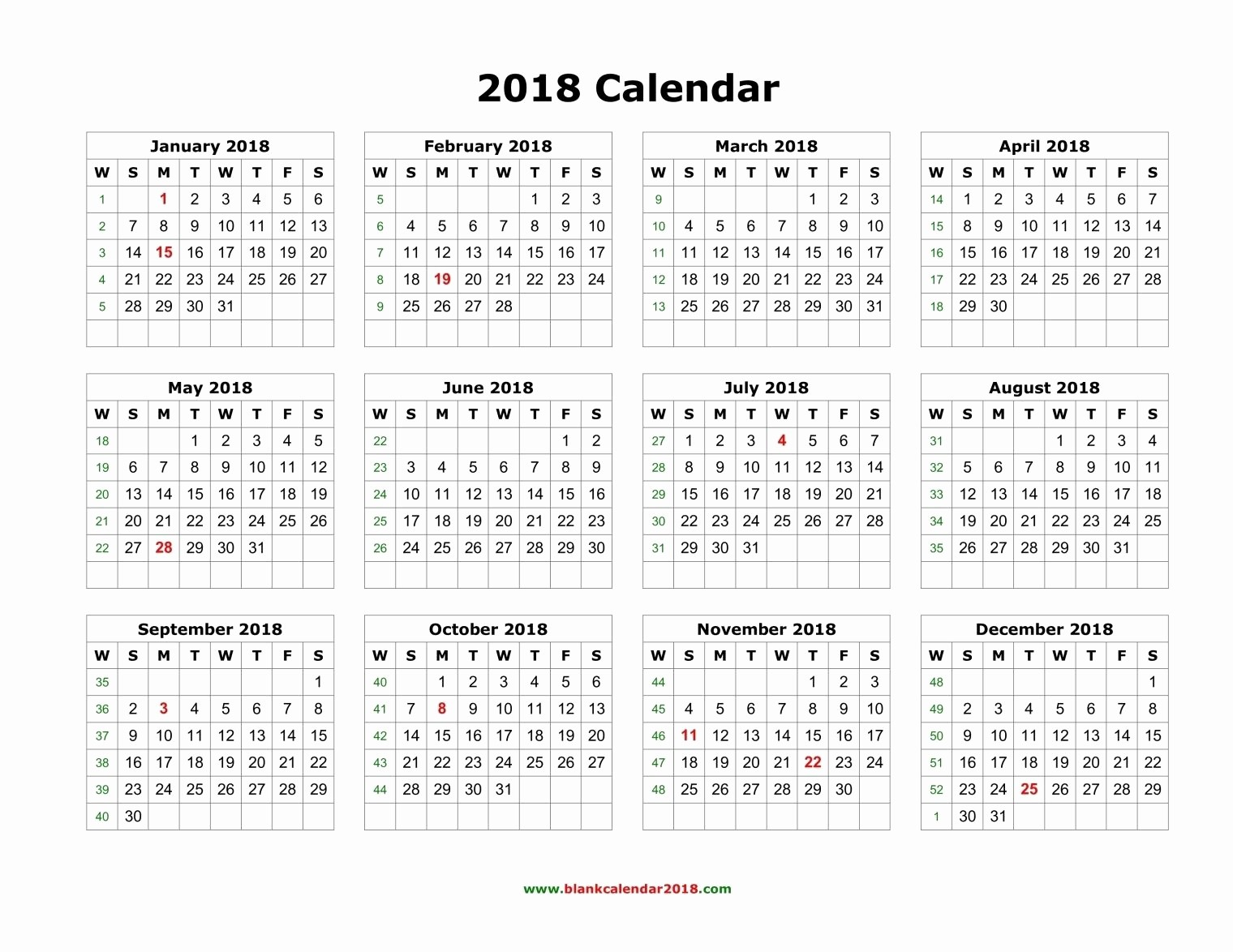 Free Printable Yearly Calendar 2018 Luxury 2018 Calendar Printable Yearly 2018 Calendar Blank