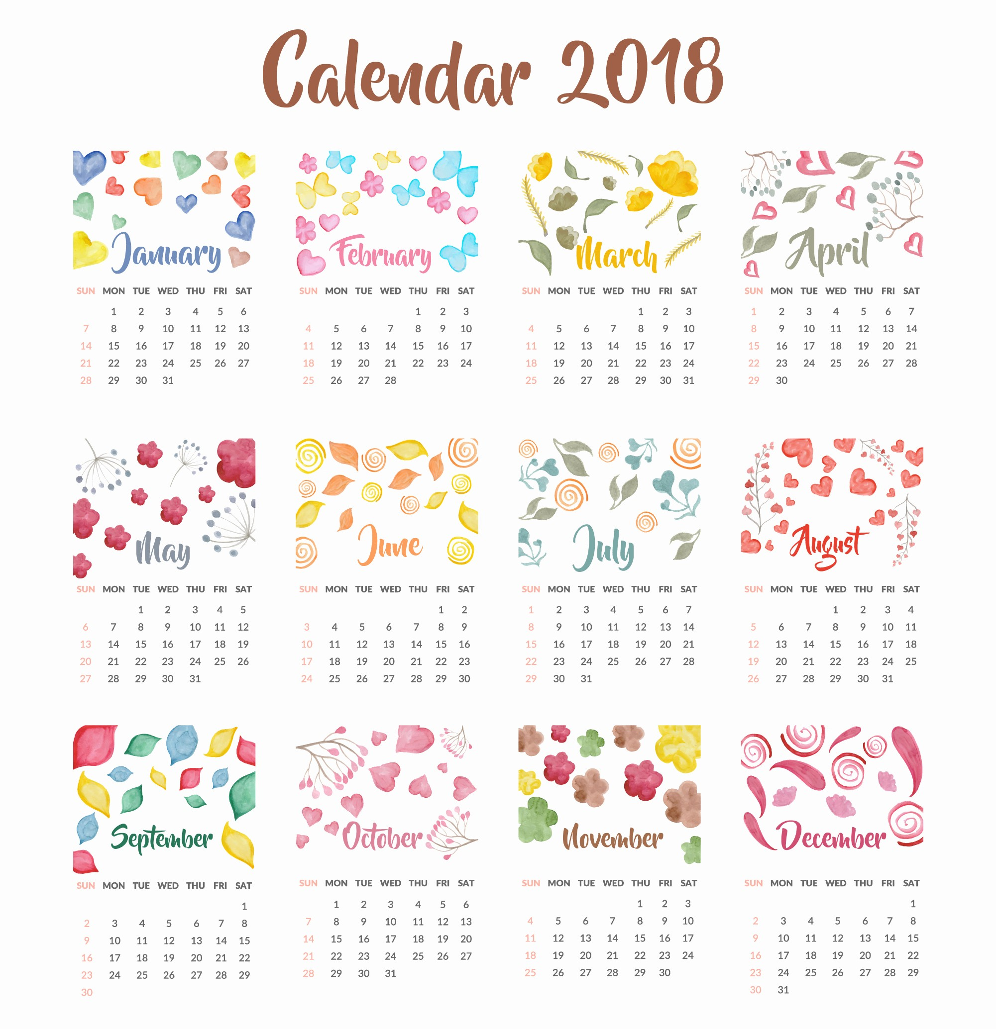 Free Printable Yearly Calendar 2018 Luxury 2018 Year Calendar Wallpaper Download Free 2018 Calendar