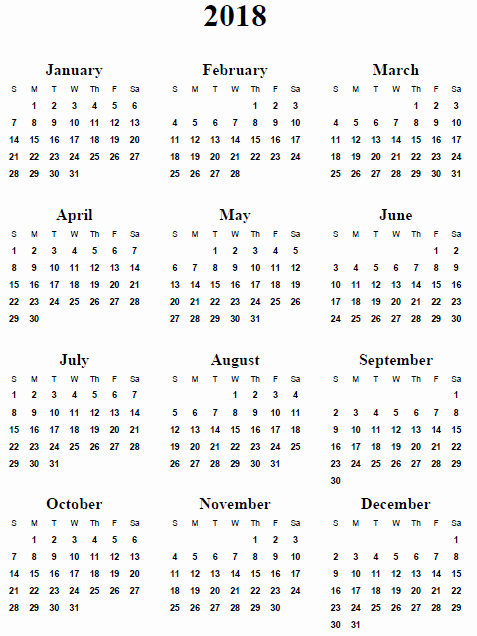 Free Printable Yearly Calendar 2018 Luxury Yearly Calendar 2018