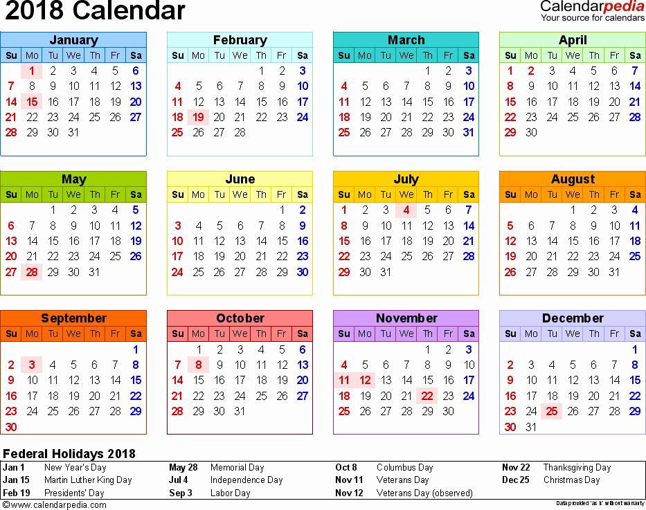 Free Printable Yearly Calendar 2018 Luxury Yearly Calendar 2018