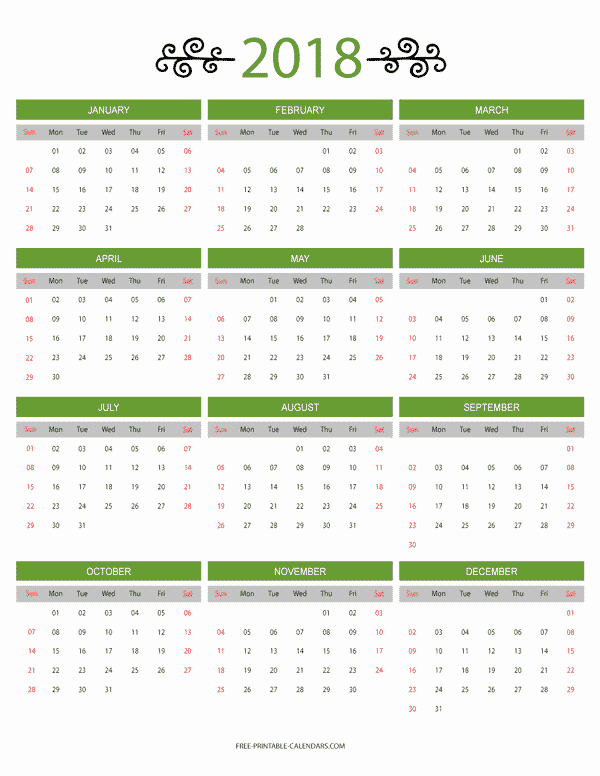 Free Printable Yearly Calendar 2018 New 12 Month Colorful Calendar for 2018 Free Printable Calendars