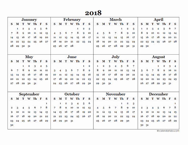 Free Printable Yearly Calendar 2018 New 2018 Blank Yearly Calendar Template Free Printable Templates