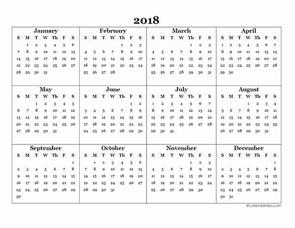 Free Printable Yearly Calendar 2018 New 2018 Blank Yearly Calendar Template Free Printable Templates
