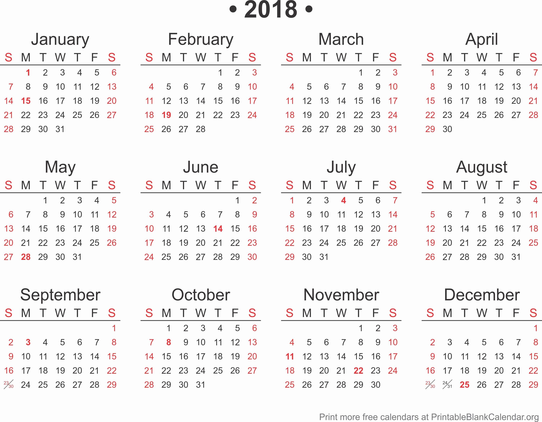 Free Printable Yearly Calendar 2018 New 2018 Free Annual Calendar Template Printable Blank