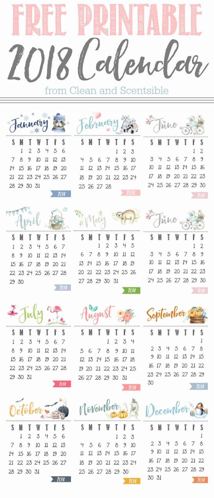 Free Printable Yearly Calendar 2018 New Cute Free Printable 2018 Yearly Calendar