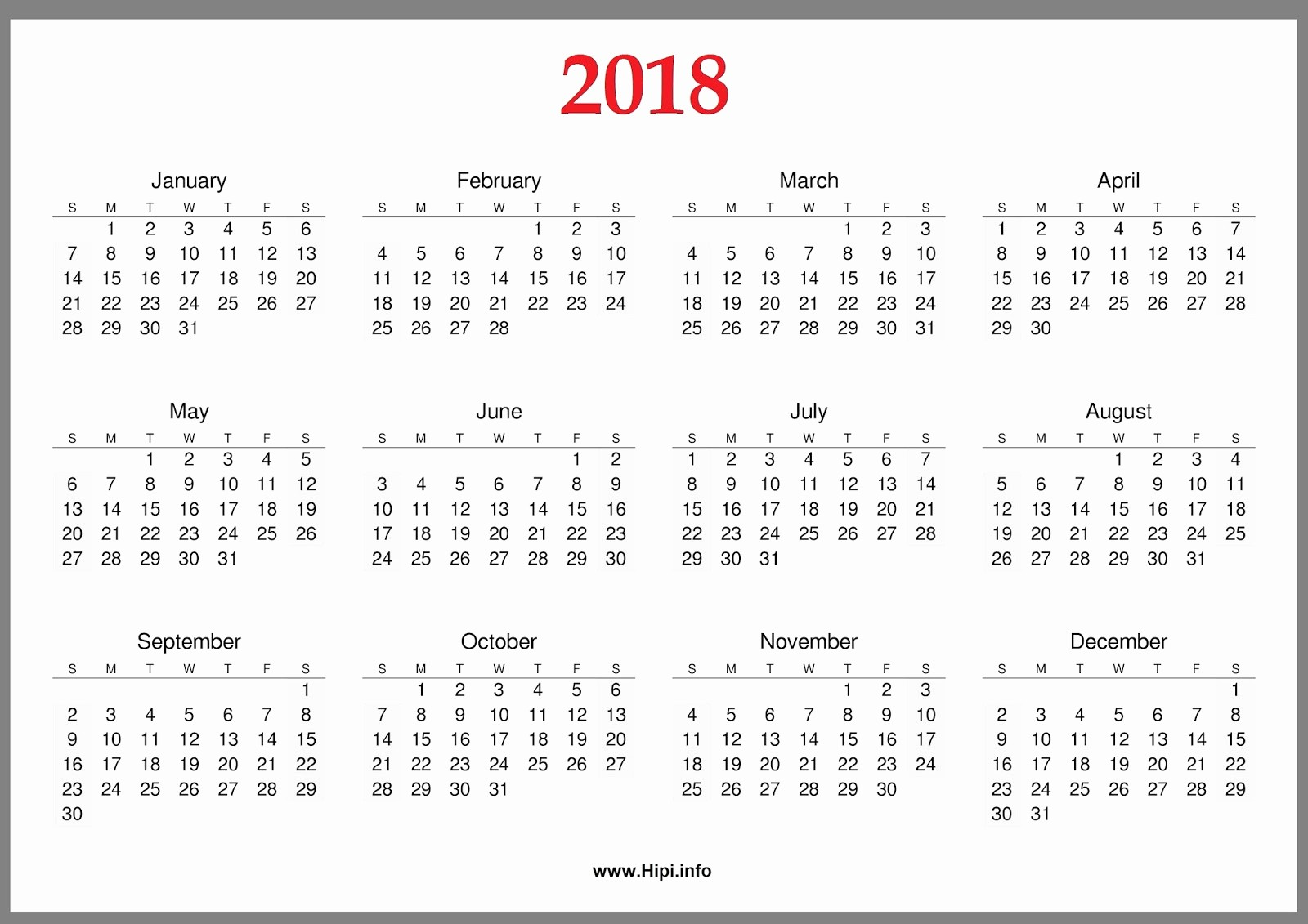 Free Printable Yearly Calendar 2018 Unique Free 2018 Yearly & Monthly Printable Calendar