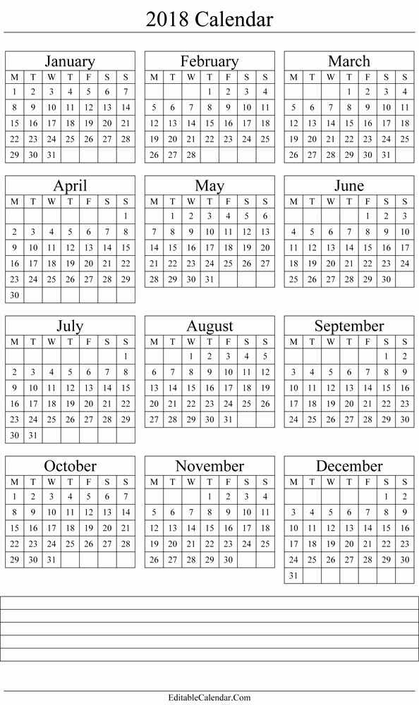 Free Printable Yearly Calendar 2018 Unique Yearly Calendar 2018 Printable Template
