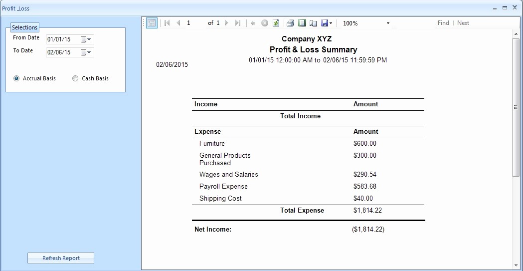 Free Profit and Loss software Best Of Ezaccounting software How to View Profit & Loss Report