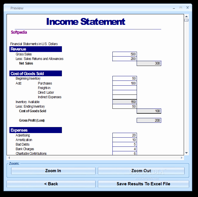 Free Profit and Loss software Inspirational Excel In E Statement Template software Download