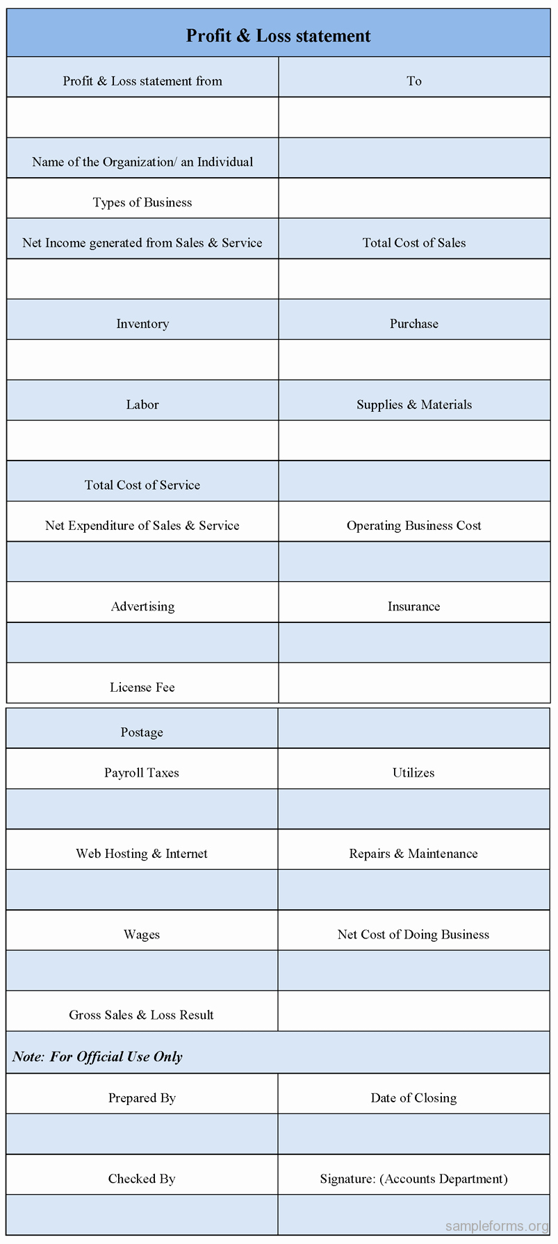 Free Profit and Loss Statement New Profit and Loss Statement form Sample forms
