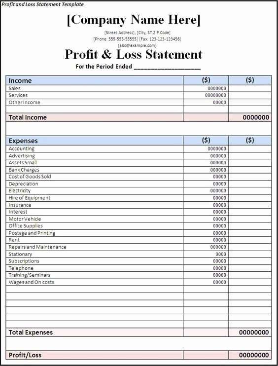Free Profit and Loss Statement New Profit and Loss Statement Template Free