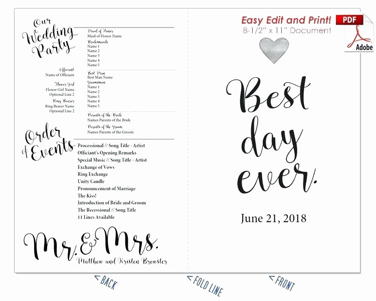 Free Program Templates for Word Beautiful Editable Fan Template Free Wedding Program Templates for