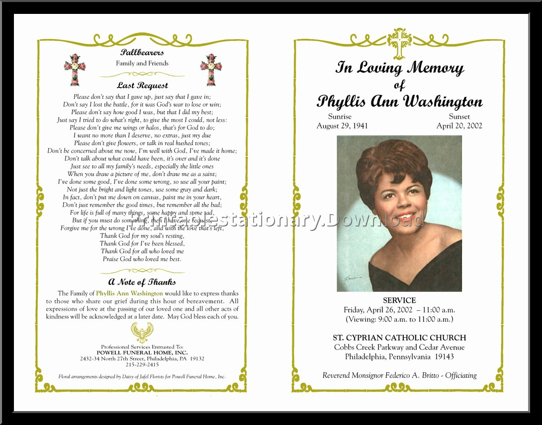 Free Program Templates for Word Elegant Free Funeral Program Template