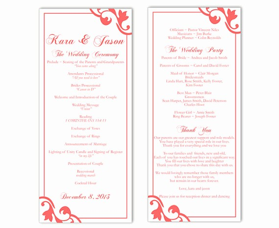 Free Program Templates for Word Elegant Wedding Program Template Diy Editable Text Word File