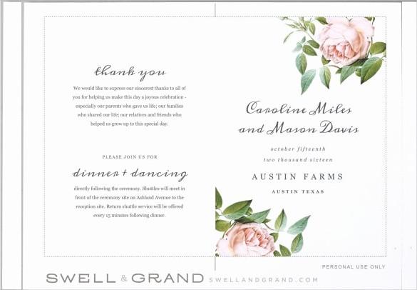 Free Program Templates for Word Elegant Wedding Program Templates – 15 Free Word Pdf Psd