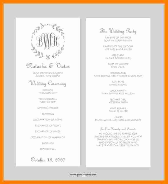 Free Program Templates for Word Inspirational 8 Free Printable Wedding Program Templates Word