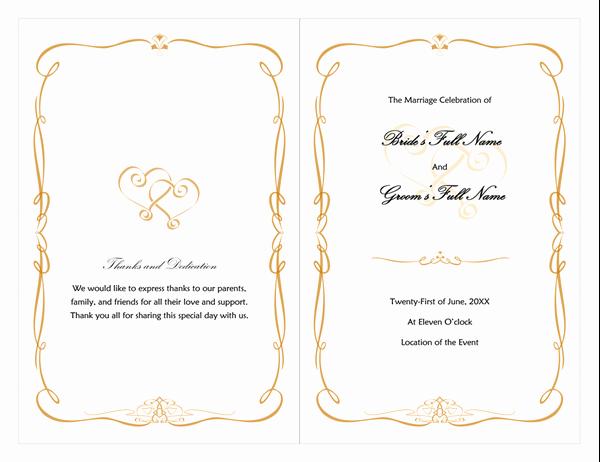 Free Program Templates for Word Inspirational Wedding Program Heart Scroll Design
