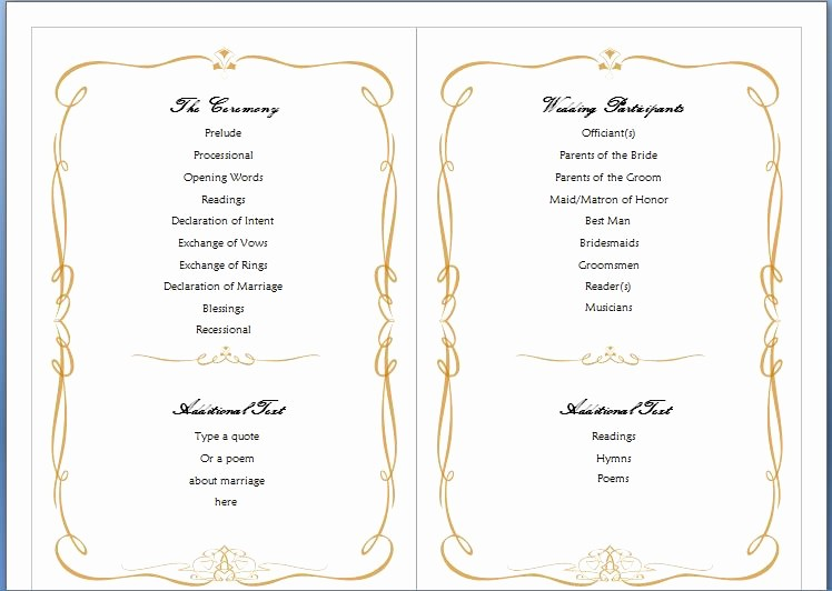Free Program Templates for Word Inspirational Wedding Program Template Word