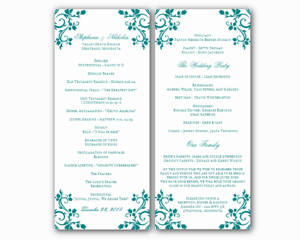 Free Program Templates for Word Lovely Free Printable Wedding Program Templates Word