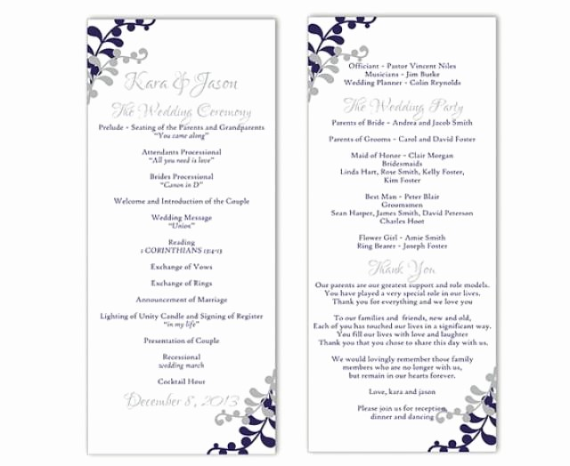Free Program Templates for Word Lovely Wedding Program Template Diy Editable Word File Instant