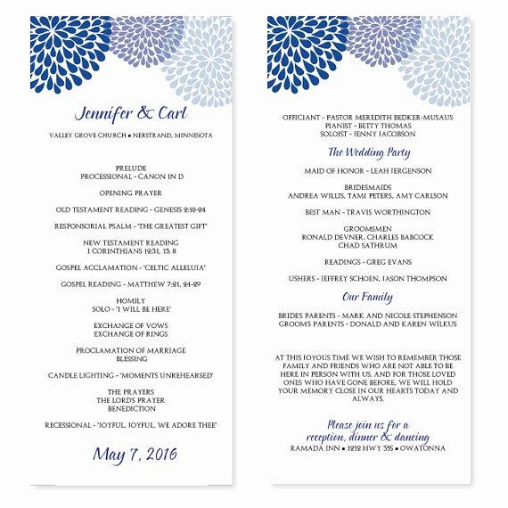 Free Program Templates for Word Unique Wedding Program Template Chrysanthemum Blue Tea Length