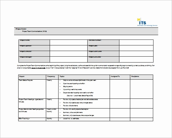 Free Project Plan Template Word Inspirational 9 Project Munication Plan Templates Pdf Word format