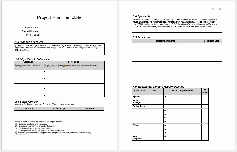 Free Project Plan Template Word New Project Plan Templates 18 Free Sample Templates
