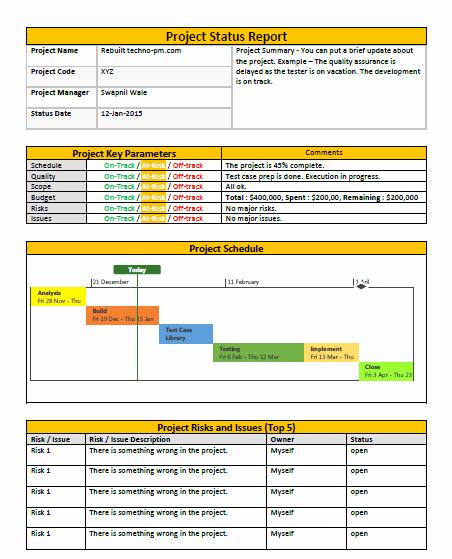 Free Project Status Report Template Elegant E Page Project Status Report Template A Weekly Status