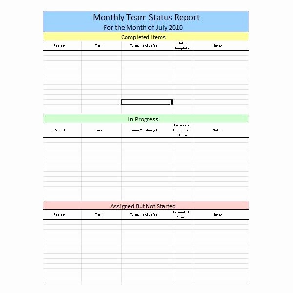 Free Project Status Report Template Inspirational Sample Team Monthly Report Template In Excel Free