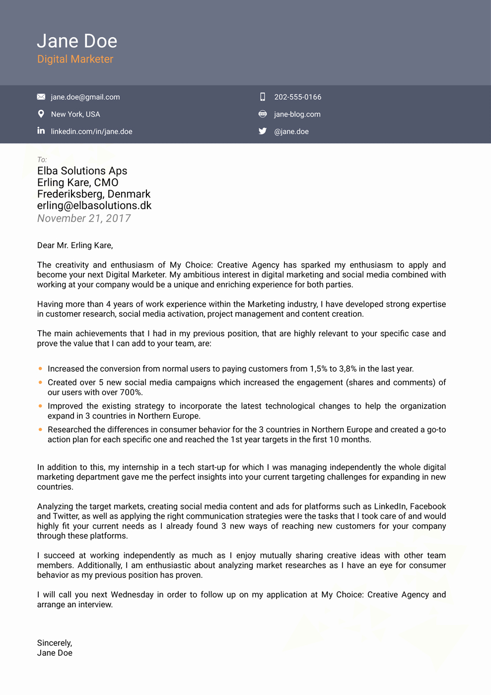 Free Resume Cover Letter Samples Beautiful 2018 Professional Cover Letter Templates Download now