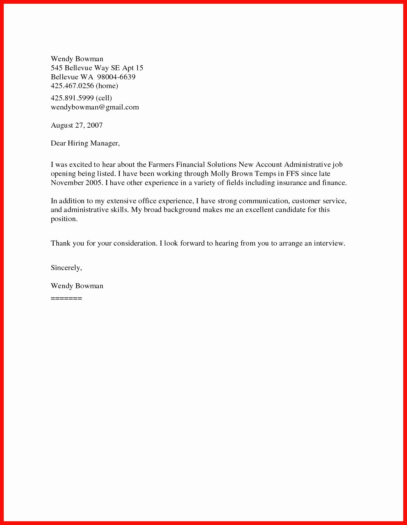 Free Resume Cover Letter Template Lovely Short Sample