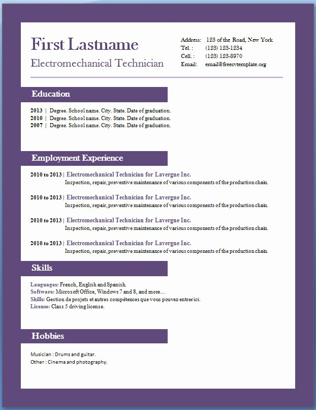 Free Resume Template Download Word Best Of Free Cv Templates 29 to 35 – Free Cv Template Dot org
