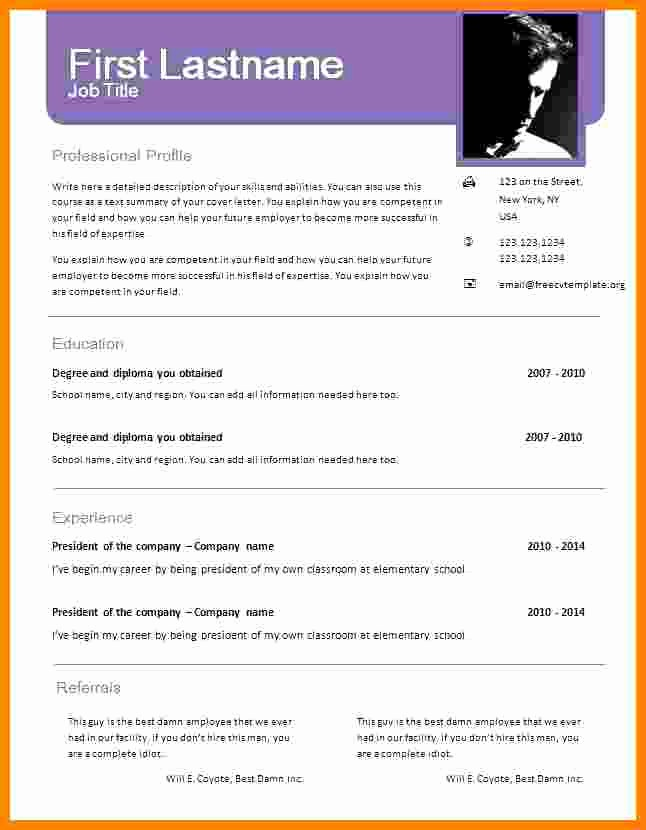 Free Resume Template Download Word Elegant 6 Cv format Word Document