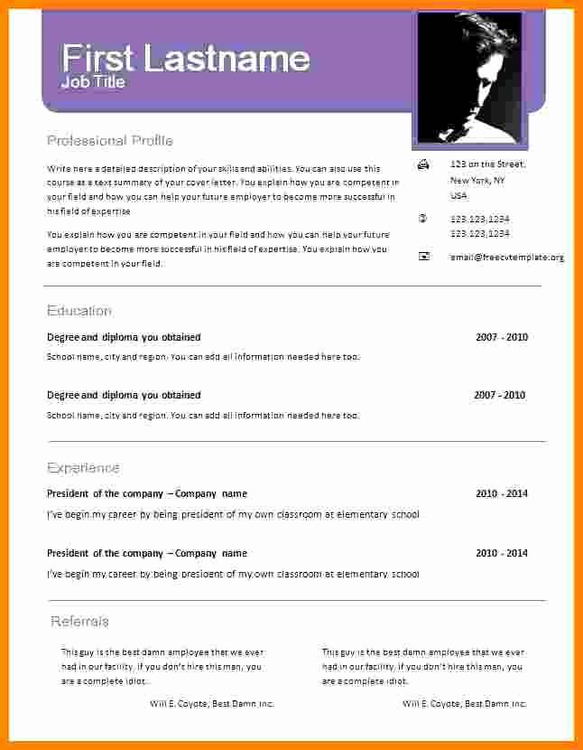 Free Resume Template Download Word Elegant 6 Cv format Word Document