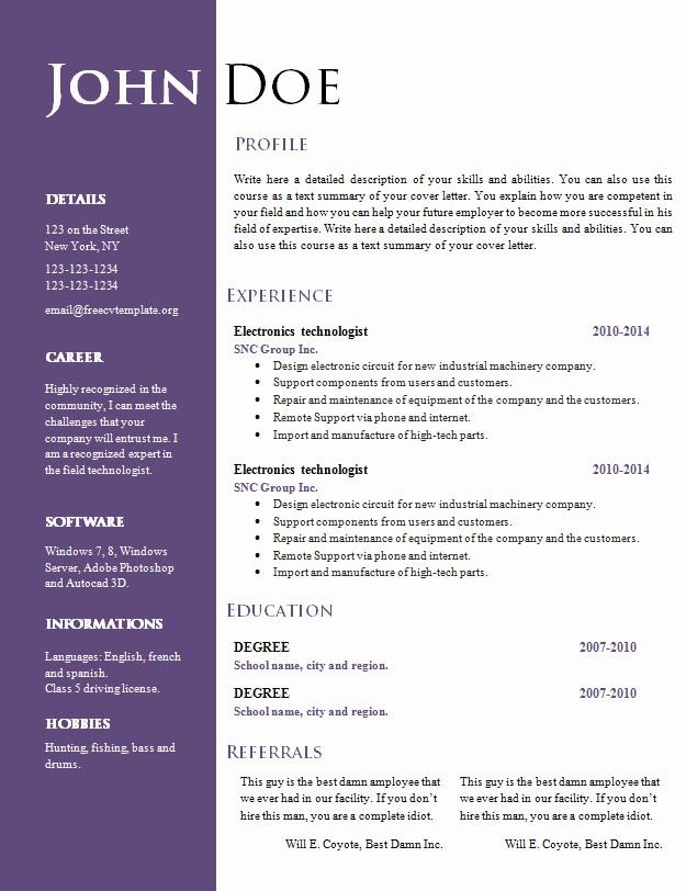 Free Resume Template Download Word Fresh Free Creative Resume Cv Template 547 to 553 – Free Cv