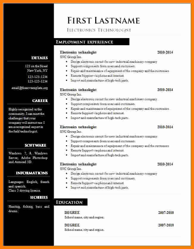 Free Resume Template Download Word Luxury 13 Cv Resume Template Microsoft Word