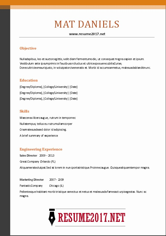 Free Resume Templates 2017 Word Awesome Bination Resume format 2017