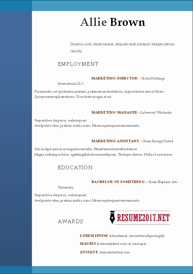 Free Resume Templates 2017 Word Best Of Resume format 2017 16 Free to Word Templates