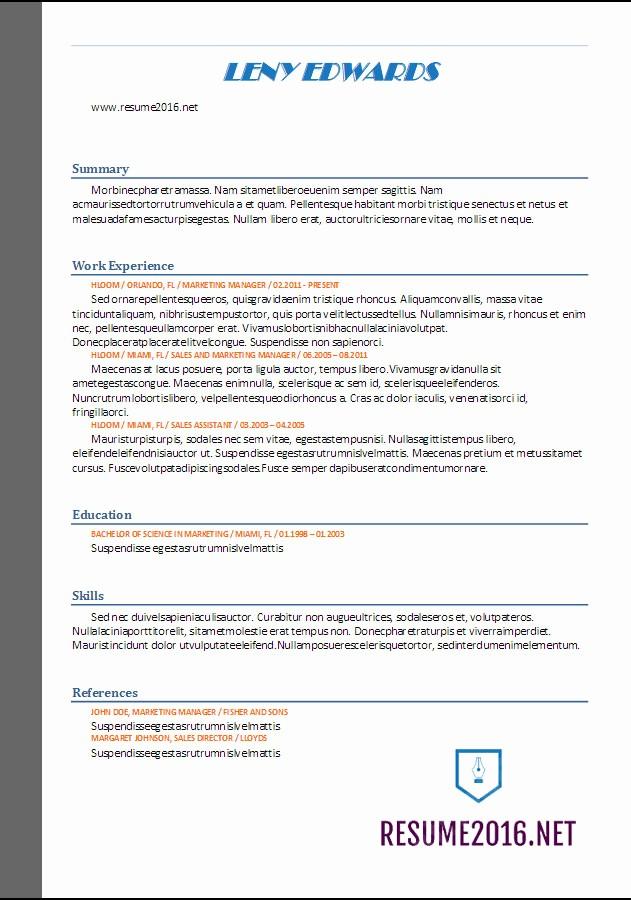 Free Resume Templates 2017 Word Elegant Resume format 2017 20 Free Word Templates