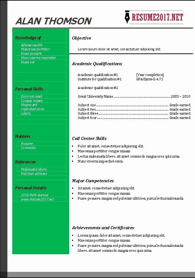 Free Resume Templates 2017 Word Inspirational Resume Templates Free 2017
