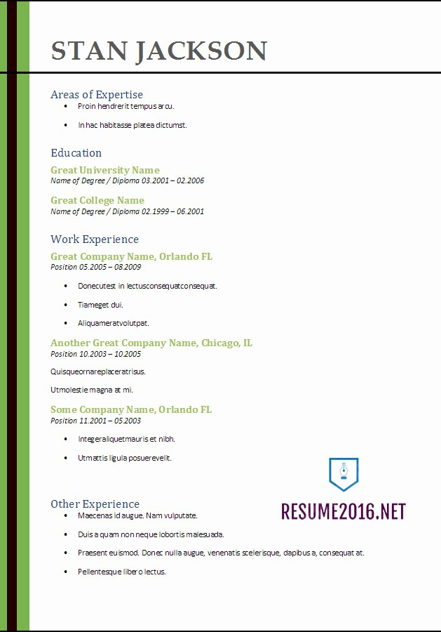 Free Resume Templates 2017 Word Luxury Resume format 2017 20 Free Word Templates