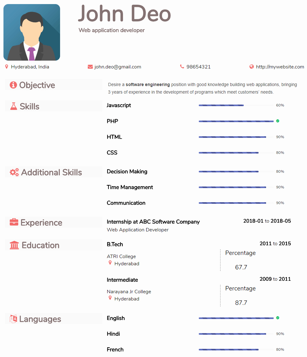 Free Resume Templates and Downloads Beautiful Resume In Pdf format Create & Download Resume formats