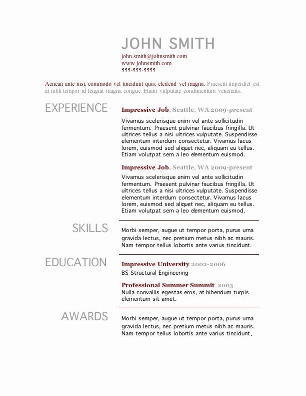 Free Resume Templates and Downloads Elegant 7 Free Resume Templates