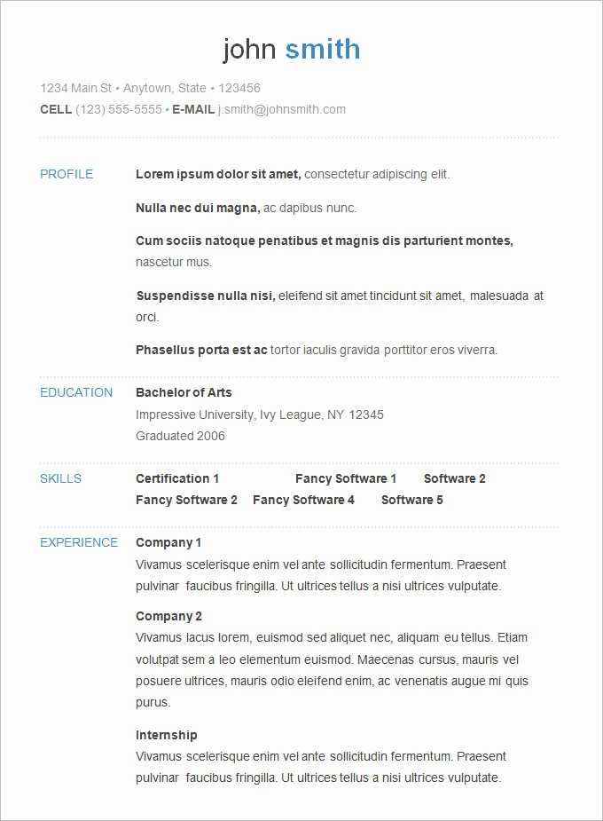 Free Resume Templates and Downloads Inspirational 70 Basic Resume Templates Pdf Doc Psd
