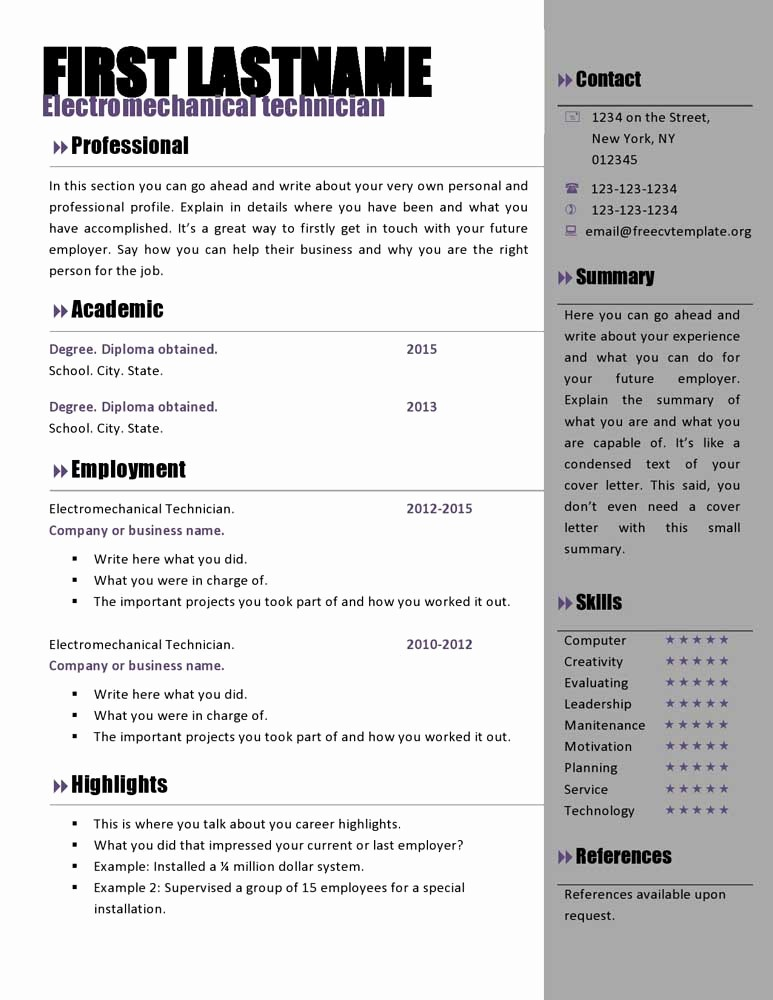 Free Resume Templates and Downloads Lovely Free Curriculum Vitae Templates 466 to 472 – Free Cv