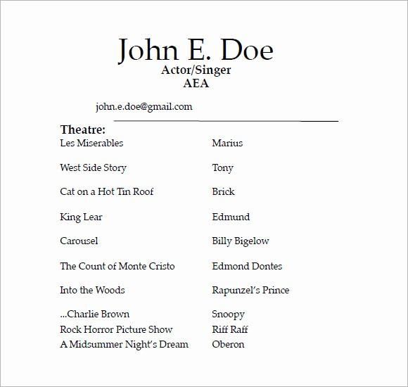 Free Resume Templates Download Pdf Luxury 7 Acting Resume Samples Examples Templates