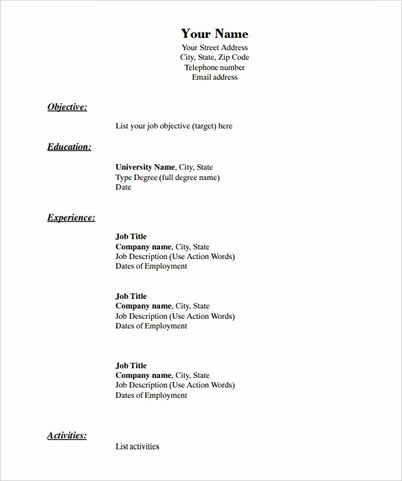 Free Resume Templates Download Pdf New 46 Blank Resume Templates Doc Pdf